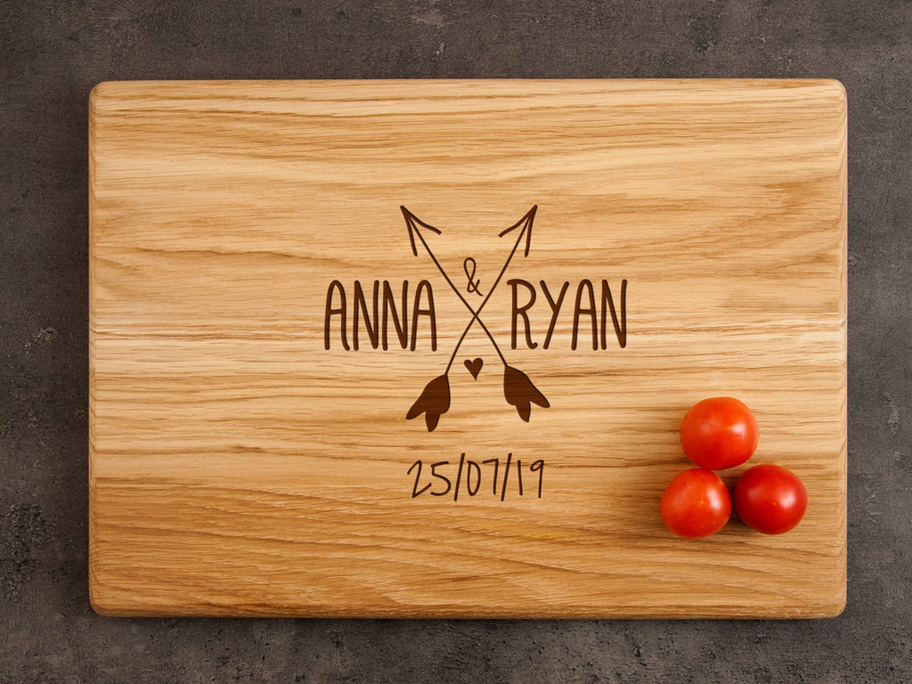 Personalized Wedding Gift for Couple Custom Cutting Board Arrows Bridal Shower Gift Engraved Kitchen Board Foodie Gift Rustic Wedding Board