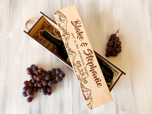 Adventure Gifts for Couple Personalized Wedding Wine Box Anniversary Gift for Couple Wedding Wine Ceremony Box And So the Adventure Begins