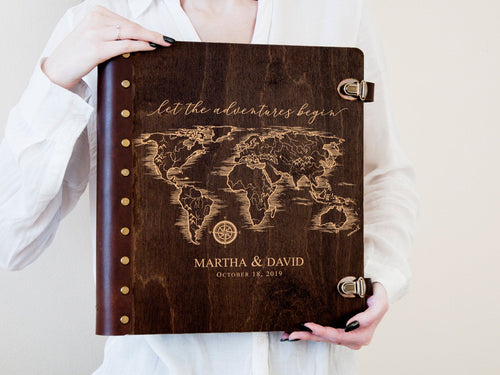 Wedding Photo Album World Map Album Let the Adventures Begin Travel Photo Album Wanderlust Gift for Couple Self-Adhensive Album Wedding Gift