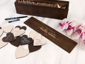 Personalized Guest Book Drop Box Guest Book Sign Wedding Party Gift Custom Memory Box Unique Guestbook Rustic Wedding Decor Guestbook Hearts
