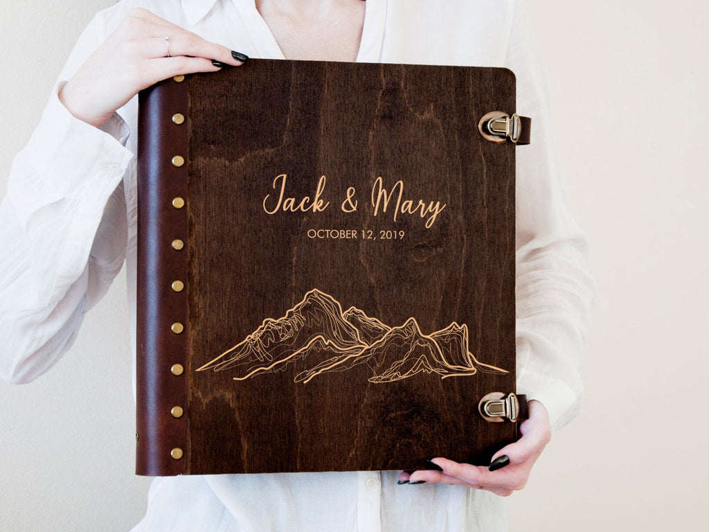 Travel Photo Album Personalized Wedding Photo Book with Self-Adhesive Sheets Mountain Lover Gift for Couple Wood Engraved Scrapbook Album