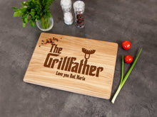 Load image into Gallery viewer, Personalized Cutting Board Fathers Day Gift for Him The Grillfather Custom Board Grill Gift for Dad Engrave Kitchen Board Father in Law Gift
