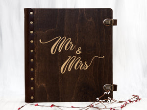 Custom Photo Album Mr & Mrs Wedding Gift Wood Album with Self-Adhesive Sheets Unique Photo Book Housewarming Gift for Newlyweds Memory Book