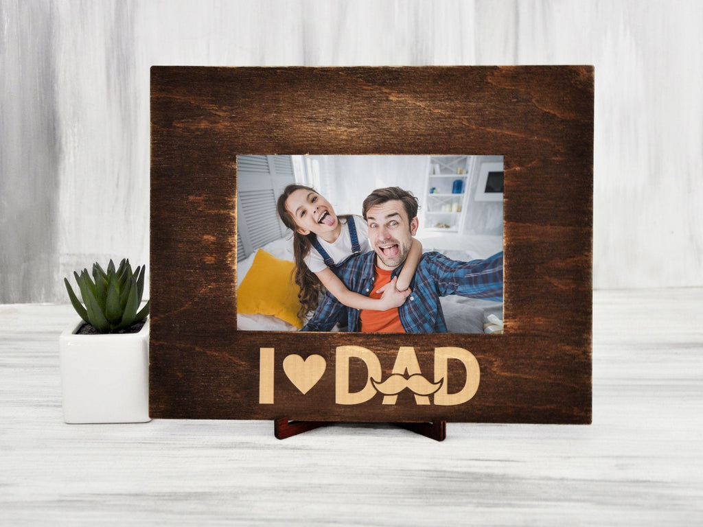 Dad Picture Frame I Love Dad Father's Day Gift from Son or Daughter Wood Photo Frame Gift for Dad Custom Frame 4x6, 5x7, 6x8 Best Dad Gift