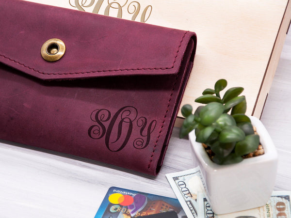 Monogram Women Wallet Personalized Leather Wallet Clutch Birthday Womens Gift Idea Ladies Wallet Anniversary Gift for Her Custom Long Wallet