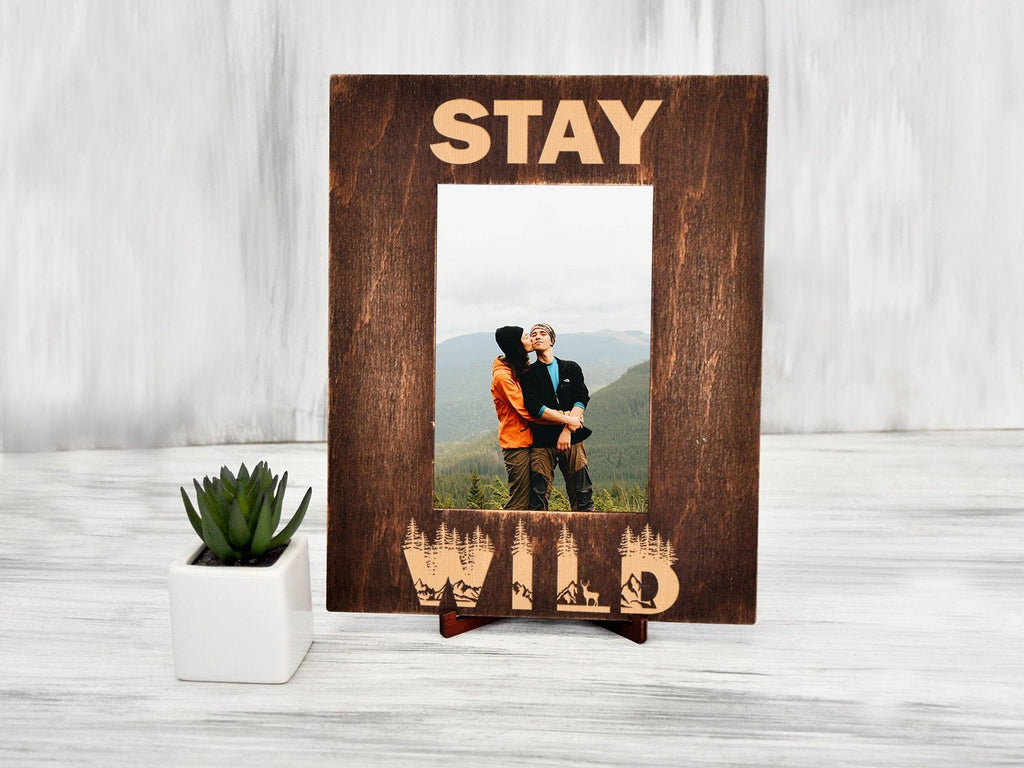 Engraved Photo Frame Stay Wild Nature Lover Gift for Friend Wood Picture Frame Home Decor Wall Frame Bday Gift Custom Frame Graduation Gift