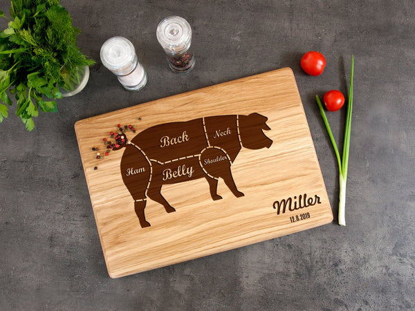 Personalized Kitchen Board Father's Day Gift Pig Print Cutting Board Farmhouse Decor Pork Cuts Wooden Chopping Board Rustic Kitchen Decor