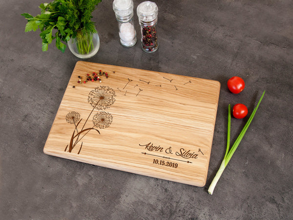 Personalized Cutting Board Wedding Gift Wooden Serving Board Newlyweds Gift Dandelions Print Chopping Board New Home Gift for Wife Oak Board
