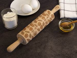 Forest Rolling Pin, Embossing Rolling Pin, Engraved Rolling Pin by Laser, Nature, Leaves, Forest leaves Birthday Gift for Wife Gift for Mom
