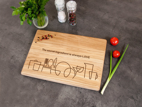 Engraved Kitchen Cutting Board The Secret Ingredient is Always Love Anniversary Family Gift Rustic Kitchen Decor Custom Chop Board Home Gift