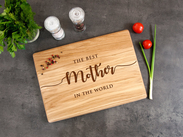 Personalized Cutting Board Best Mother in the World Wood Cutting Board Gift from Daughter Kitchen Decor Gift for Mom Custom Chopping Board