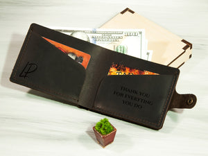 Mens Leather Wallet Personalized Gift for Men Minimalist ID Wallet Anniversary Gift for Husband Custom Slim Wallet for Dad Groomsmen Gifts