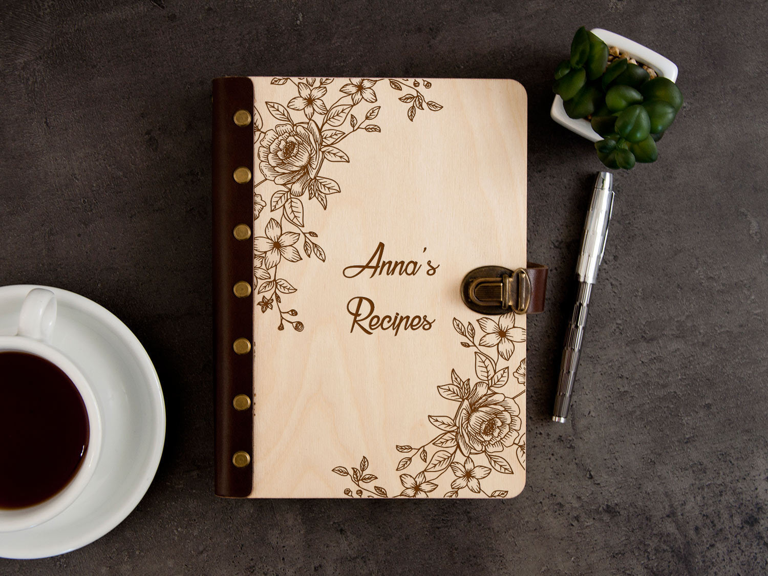 Personalized Recipe Journal Flowers Pattern Blank Recipe Book Binder Gift for Mother Kitchen Cookbook Birthday Gift for Wife Wooden Journal