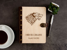 Load image into Gallery viewer, Game of Thrones Recipe Book Family Recipes Personalized Recipe Journal Blank House Stark Wood Journal Binder Birthday Gift Kitchen Cookbook