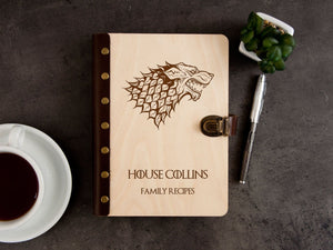 Game of Thrones Recipe Book Family Recipes Personalized Recipe Journal Blank House Stark Wood Journal Binder Birthday Gift Kitchen Cookbook