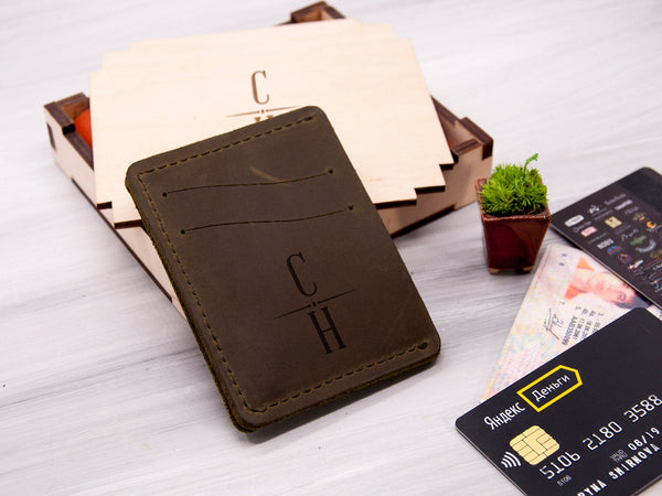 Personalized Engraved ID Card Holder Wallet for Men