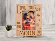 Load image into Gallery viewer, Engraved Photo Frame Love You to the Moon and Back Birthday Gift for Wife from Husband Rustic Frame Anniversary Gift Wooden Picture Frame