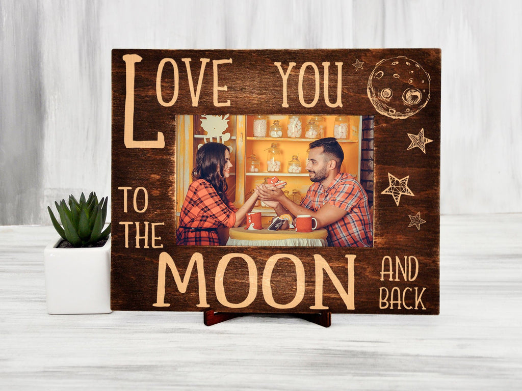 Engraved Photo Frame Love You to the Moon and Back Birthday Gift for Wife from Husband Rustic Frame Anniversary Gift Wooden Picture Frame