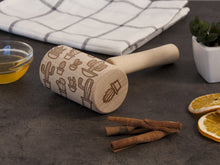 Load image into Gallery viewer, Cactus Small Rolling Pin Embossing Rolling Pin Cacti Cookie Stamp Engraved Rolling Pin by Laser Nature Print Roller Succulent Print Floral