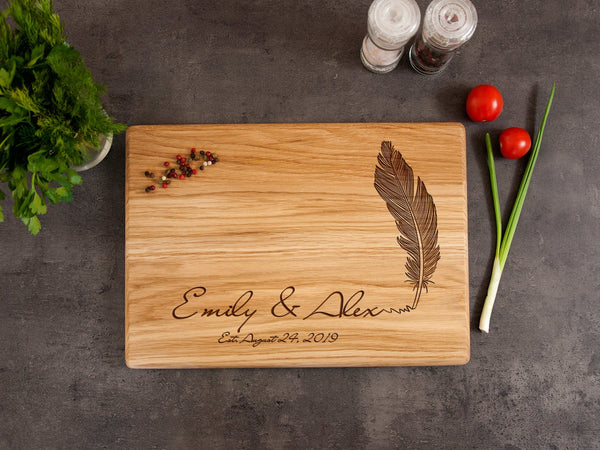 Personalized Cutting Boards Wedding Gift for Couple Feather Engraved Oak Cutting Board Keepsake Board Housewarming Gift Custom Serving Board