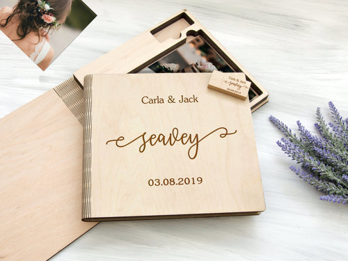 Personalized Photo box Wedding Gift for Couple Wood Photo Box Optional 16/32 Gb USB 3.0 Custom Photo Storage Box Anniversary Gift for Wife