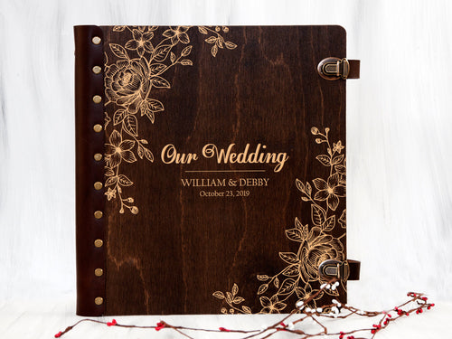 Wedding Photo Album Personalized Photo Album Self-Adhesive Album Rustic Wedding Gift for Couple Wooden Photo Album Custom Unique Photo Book