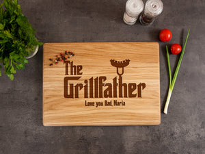 Personalized Cutting Board Fathers Day Gift for Him The Grillfather Custom Board Grill Gift for Dad Engrave Kitchen Board Father in Law Gift