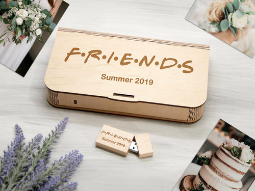 Friends Gift Personalized Photo Box Gift for Best Friend Wood Photo Storage Box Friends Birthday Gift Photography Box Gift for Friend Woman