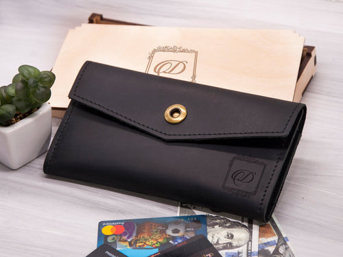 Leather Womens Wallet Birthday Gift for Mom Monogrammed Wallet for Women Personalized Gift for Girlfriend Custom Engraved Bifold Long Wallet