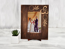 Load image into Gallery viewer, Wedding Picture Frame Mr & Mrs Gift Engraved Wood Photo Frame Wedding Gift for Couple Custom Frame New Family Gift Rustic Picture Frame 4x6