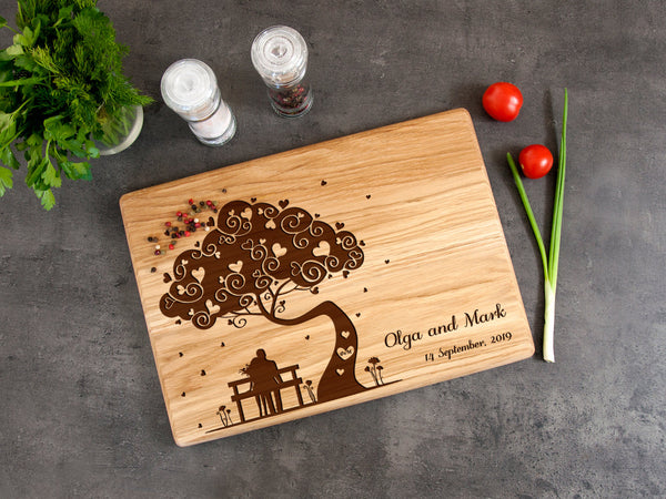 Engraved Cutting Board Wedding Gift Personalized Serving Board Family Tree Gift Wooden Kitchen Board Newlyweds Gift Custom Cheese Board