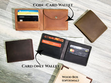 Load image into Gallery viewer, Personalized Wallet Monogrammed Engraved Wallet Genuine Leather Bifold Mens Wallet Groomsmen Gift Box Best Man Gift Monogram Wallet Men Gift