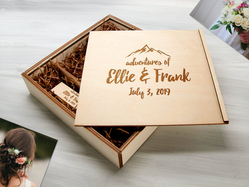 Wood Photo Storage Box Optional USB 3.0 Adventure Gift for Couple Personalized Photo Box Wedding Gift for Bride Destination Wedding Gift