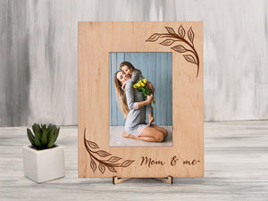 Picture Frame Mother's Day Gift from Daughter Wooden Frame Gift for Mom and Me Engraved Frame Holiday Gift from Son Photo Frame Custom Frame
