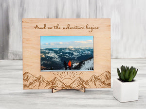 Personalized Photo Frame Gift for Travelers And So the Adventures Begin Mountain Picture Frame Engraved Frame Birthday Gift Wood Home Decor