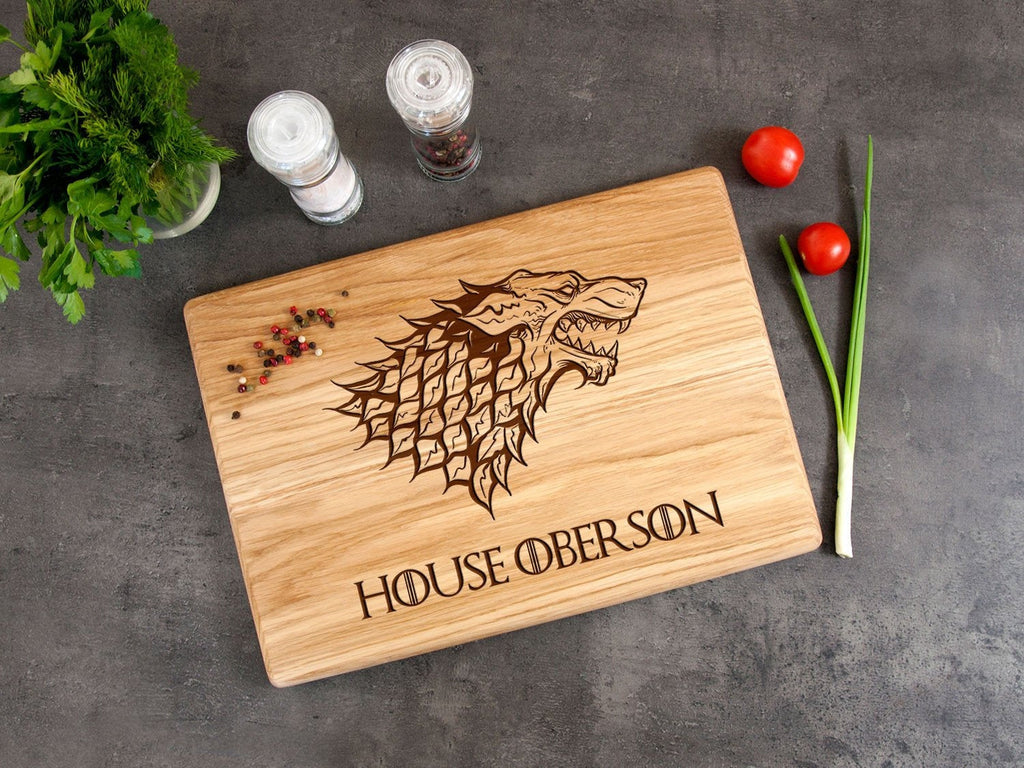 Game of Thrones Cutting Board Personalized Kitchen Board House Stark Foodie Gift Direwolf Engraved Boad Family Gift for GoT Fan Home Decor