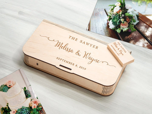 Personalized Photo Box Gift for Couple Wooden Storage Box Christmas Gift Optional USB 3.0 Custom Wedding Anniversary Gift Photography Box