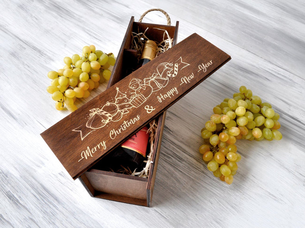 Christmas Gift Engraved Wine Box Wood Wine Gift Custom Wine Box Christmas Wine Gift Box Gift for Couple Gift for Her Christmas Gift Ideas