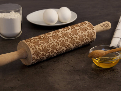 Embossing Rolling Pin Flower Pattern Engraved Roller Kitchen Baking Supply Mother's Day Gift for Her Home Decor Birthday Gift for Grandma