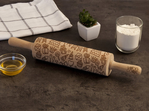 Birthday Rolling Pin New Mom Gift Ideas Engraved Cookie Stamp Housewarming Gift for Bakers Kitchen Supply Cookie Gift for Son or Daughter