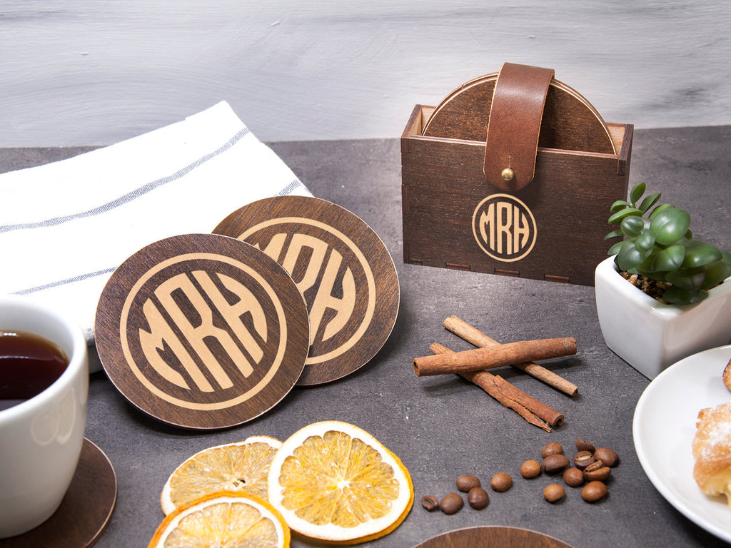 Monogrammed Coasters Custom Coaster Set of 6 Housewarming Gift Personalized Coaster New Home Gift Wedding Coaster Family Gift Drink Coasters