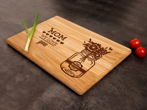 Mom We Love You Cutting Board Gift for Mommy from Kids Serving Board Gift for Grammy Personalized Chopping Board Custom Charcuterie Board