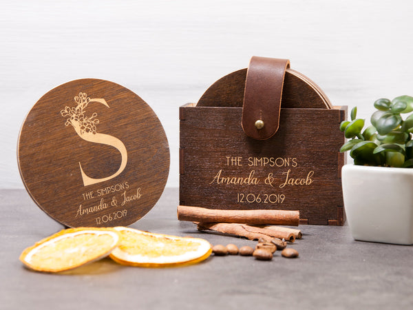 Wooden Coaster Wedding Gift Custom Coaster Set of 6 with Holder Drink Сoaster Personalized Coaster Bridal Shower Gift Monogrammed Coaster
