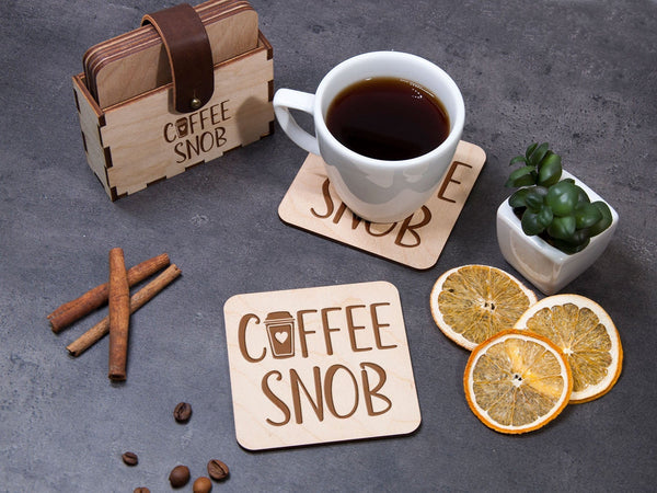 Drink Coaster Set of 6 Coffee Lover Gift Personalized Coaster Holder Coffee Shop Decor Wooden Coasters Coffee Snob Laser Engraved Coaster