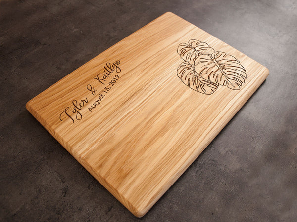 Wooden Cutting Board Monstera Leaf Serving Board Wedding Present Tropical Leaves Cheese Board Personalized Chopping Board Gift for Bride