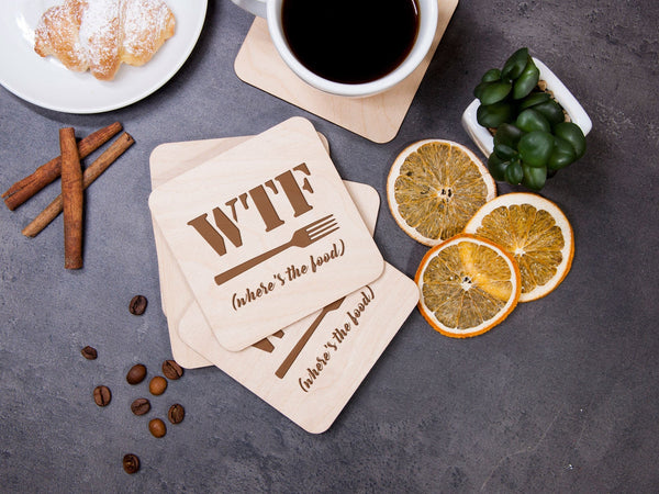 Wooden Coaster Set Personalized Coaster WTF Where's the Food Engraved Coaster Funny Fun Gift Bar Decor Rustic Gift Drink Coaster Party Decor