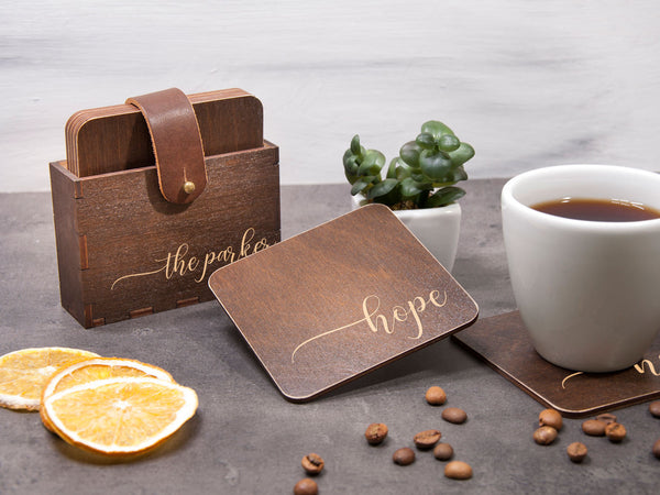 Custom Coaster Set of 6 Сalligraphic Design Wooden Coaster Personalized Wedding Gift Drink Coasters New Home Gift for Wife Engraved Coaster