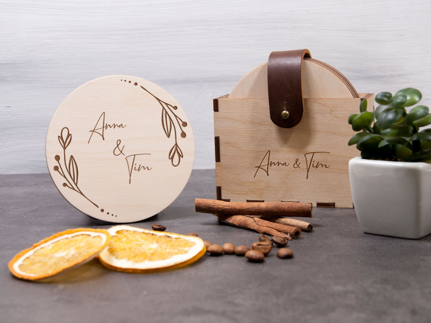 Wedding Coaster Gift for Wife from Husband Engagement Gift Coasters Set Floral Wheath Engraved Coaster Rustic Gift Wood Coaster Wine Coaster