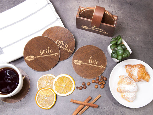 Personalized Coaster Custom Wedding Gift Engraved Coaster Set of 6 Arrow Print Coffee Table Decor Housewarming Gift for Bride Round Coasters