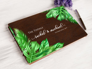 Tropical Wedding Guest Book Custom Wedding Album Personalized Guestbook Hawaiian Wedding Printed Wooden Wish Book Rustic Wedding Guestbook